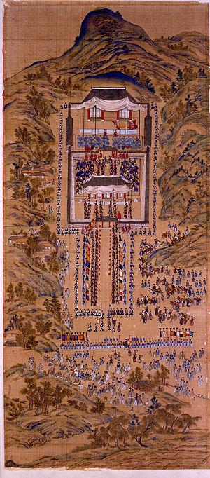 Eight Days, Assassination Attempts against King Jeongjo - Image: Blue 1 Haenghaeng Hwaseongseongmyojeon bae