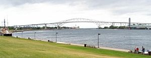 Port Huron, Michigan - The Bluewater Bridge from the South along the St. Clair River (Port Huron, MI to Sarnia, ON)