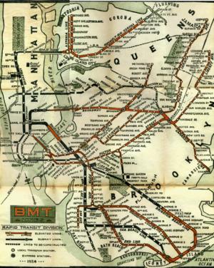 BMT Lexington Avenue Line - A 1924 BMT route map; the Lexington Avenue El is at center.