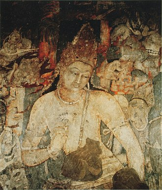 Buddhist art - Over life-size figure of the bodhisattva Padmapani, cave 1, Ajanta Caves, 5th century