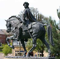 Bonnie Prince Charlie Statue in Derby commemorating the prince's visit in December 1745.