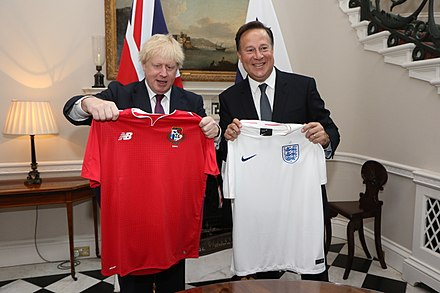 British Foreign Secretary Boris Johnson swapped football shirts with the President of Panama, Juan Carlos Varela in London, May 14, 2018. Boris Johnson with Juan Carlos Varela in London - 2018 (27232646267).jpg