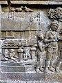 Borobudur - Divyavadana - 086 N, The Landing of Hiru and foundation of Hiruka (detail 1) (11706483326).jpg