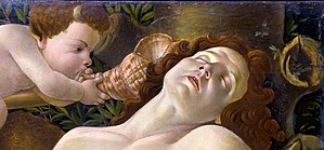 Venus and Mars (Botticelli) - Mars, with the wasp's nest on the right