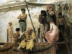 """Painting entitled """"Le marché aux esclaves..."""
