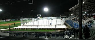 BB&T Ballpark at Historic Bowman Field - Airmen Pond ice hockey rink at Bowman Field in 2012