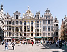 One side of the Grand Place with ornate house facades