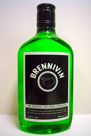 Brennivín - A 500-ml bottle of Brennivín, which is generally clear, but in this case green