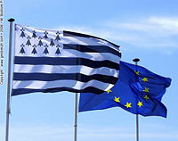 The Breton and European flags