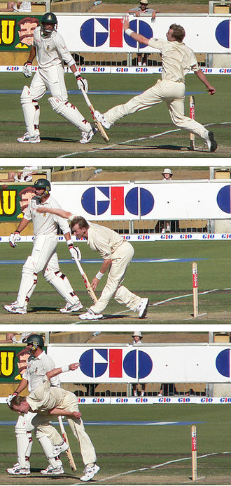 Bowling (cricket) - Australian fast bowler Brett Lee in action in 2005.