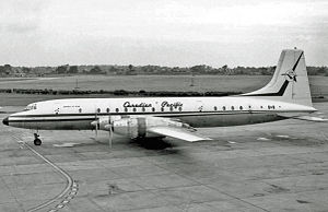 "Canadian Pacific Air Lines - Bristol Britannia 314 ""Empress of Rome"" at Manchester Airport in 1965"