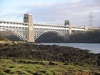 Anglesey - Britannia Bridge from the east along the Menai Strait