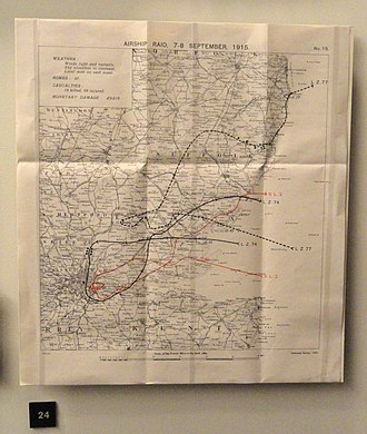 German strategic bombing during World War I - British map plotting the raid of 7–8 September