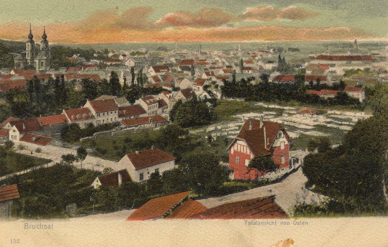 Bruchsal, Baden-Württemberg - Stadtansicht von Osten (Zeno Ansichtskarten).jpg