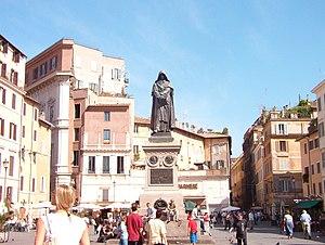 Campo de' Fiori - The monument to the philosopher Giordano Bruno at the centre of the square.