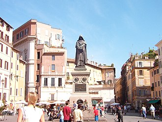 Campo de' Fiori - The monument to the philosopher Giordano Bruno at the centre of the square.