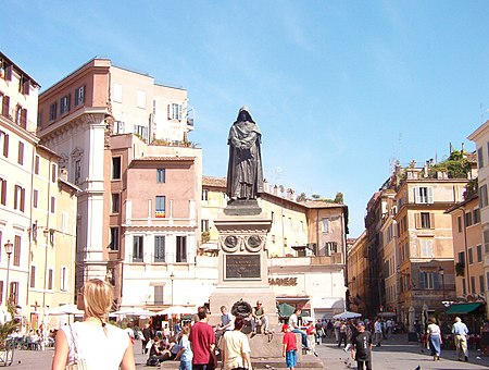 The monument to the philosopher Giordano Bruno at the centre of the square. Brunostatue.jpg