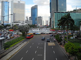 "Hotel Indonesia - Bundaran HI (""Hotel Indonesia Roundabout"") with Hotel Indonesia on the right"