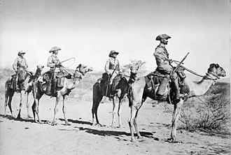 German South West Africa - Four German soldiers in a Camel-Schutztruppe patrol, in 1906.