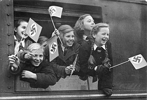 "Evacuations of children in Germany during World War II - KLV children taking ""special leave"" from Berlin."