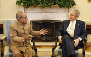 Bush meets Pranab Mukherjee