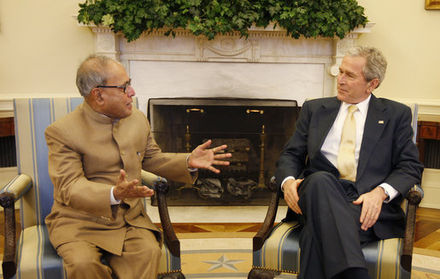 Foreign Minister of India Pranab Mukherjee with President Bush, March 2008 Bush meets Pranab Mukherjee.jpg