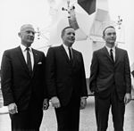 Buzz Aldrin (left), Neil Armstrong, and Mike Collins pose in business suits following a press conference at the Manned Spacecraft Center, Houston.jpg