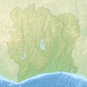 Map showing the location of Comoé National Park