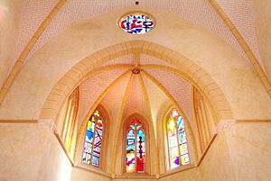 Shirley Jaffe (artist) - Stained glass windows designed by Jaffe for the Chapelle La Funeraria, Perpignan