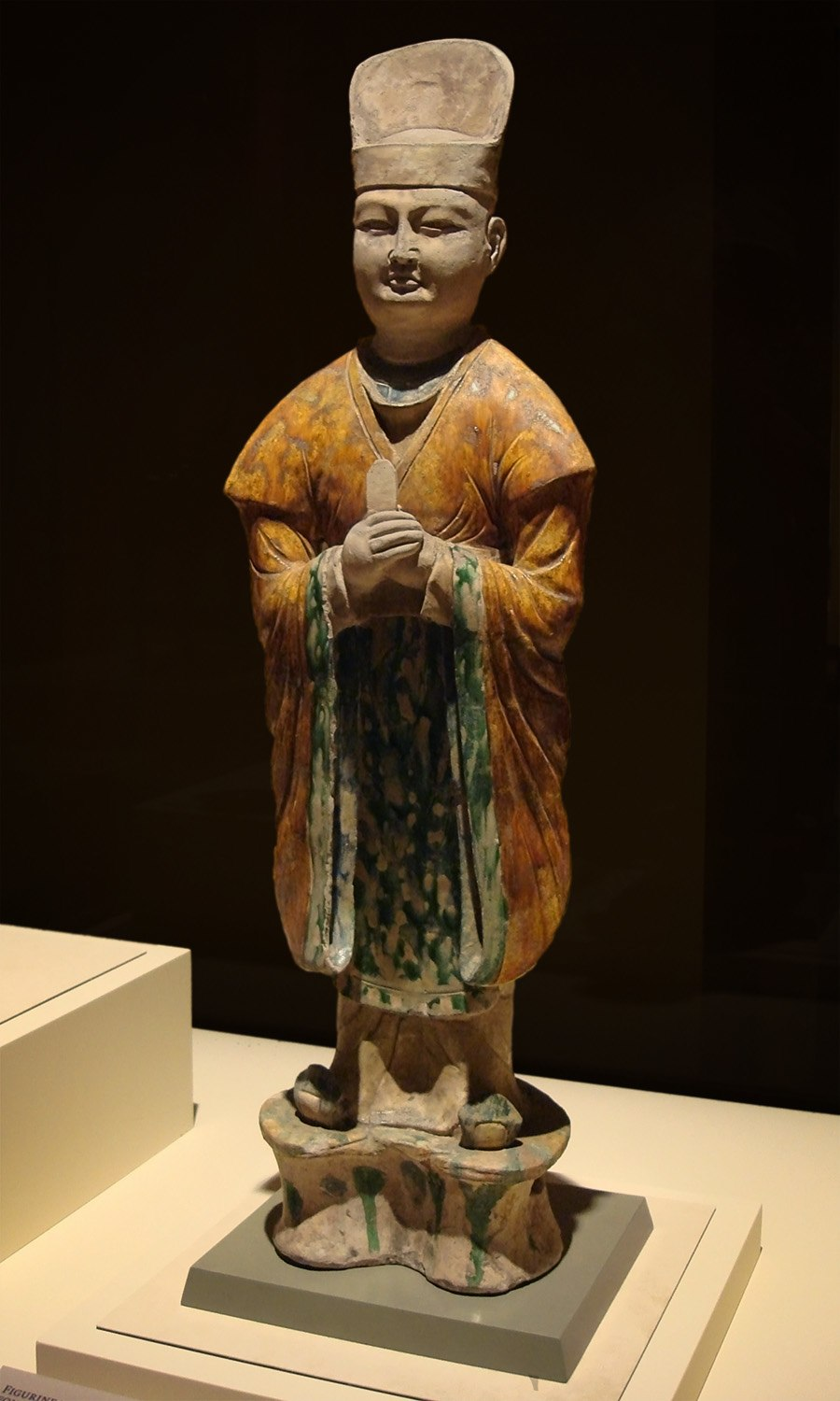 CMOC Treasures of Ancient China exhibit - tri-coloured figure of a civil official