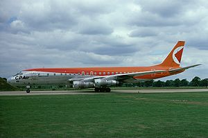 Canadian Pacific Air Lines - A Douglas DC-8 at London Gatwick Airport in 1977