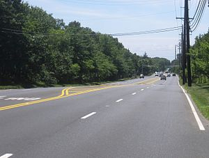 County Route 547 (New Jersey) - Southbound CR 547 on the four-lane segment along the eastern edge of NWS Earle in Tinton Falls