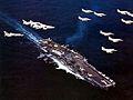 CVW-19 aircraft flying over USS Ticonderoga (CVA-14) 1968.jpg