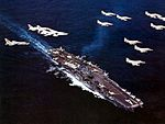 CVW-19 aircraft flying over USS Ticonderoga (CVA-14) 1968.jpg