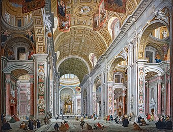 A very detailed painting of a vast church interior. The high roof is arched. The walls and piers which support the roof are richly decorated with moulded cherubim and other sculpture interspersed with floral motifs. Many people are walking in the church. They look tiny compared to the building.