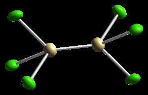 Cadmium(I) tetrachloroaluminate - Image: Cadmium(I) tetrachloroaluminate xtal 1987 Cd coordination CM 3D ellipsoids