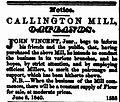 Callington Mill notice 1840.jpg