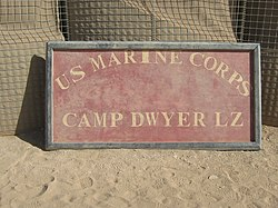 Camp Dwyer LZ sign (Afghanistan) 01.jpg