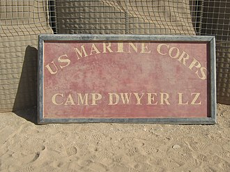 Landing zone - LZ sign at Camp Dwyer in Afghanistan