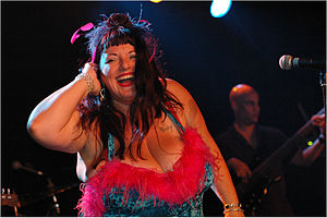 Jazz singer with natural big tits