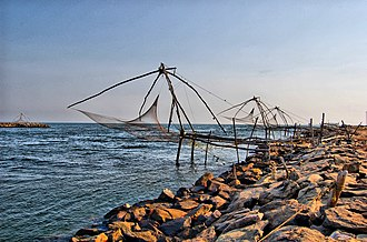 Kodungallur - Cape of Kodungallur, where Periyar empties into Arabian Sea. Chinese fishing nets in the beach, believed to be installed by 14th century Chinese explorer, Zheng He, have also become a popular tourist attraction.