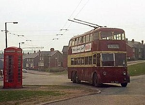Ely, Cardiff - A Cardiff trolleybus crossing Grand Avenue in Ely, 1969.