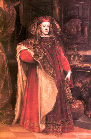 Principalía - Charles wearing the robes of the Order of the Golden Fleece, in about 1673, by Juan Carreño de Miranda