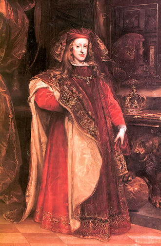 Charles II of Spain - Charles wearing the robes of the Order of the Golden Fleece, in about 1673, by Juan Carreño de Miranda