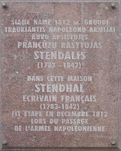 stendhal  a plaque on a house in vilnius where stendhal stayed in 1812 during napoleon s retreat from russia