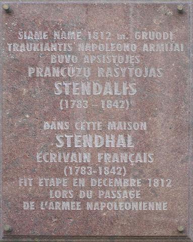 Мемориальная доска на доме в Вильнюсе, где останавливался Стендаль в 1812