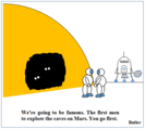 Caves on Mars cartoon. Inside the dark cave, two pairs of white eyes can be seen, but the rest of their faces remain in the dark