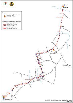 Cebu Bus Rapid Transit System - Image: Cebu BRT Route Diagram