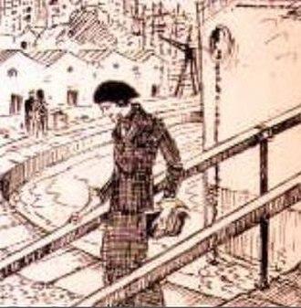 Cecília Meireles - An ink drawing of Meireles disembarking in Lisbon, by her first husband, Fernando Correia Dias.