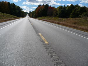 Centerline rumble strip, as well as at edge of...